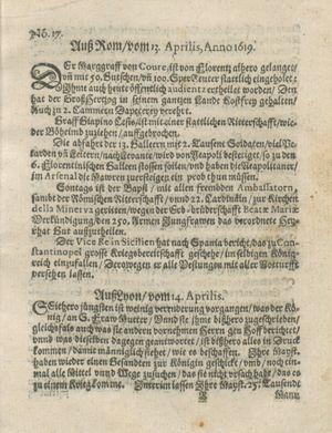 Zeitung auß Deutschlandt, Welschlandt, Franckreich, Böhmen, Hungarn, Niederlandt und andern Orten on May 6, 1619