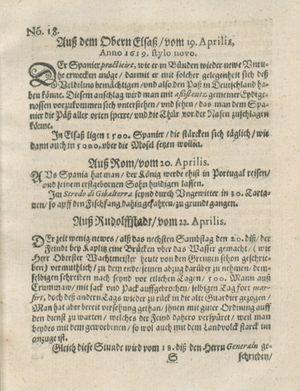 Zeitung auß Deutschlandt, Welschlandt, Franckreich, Böhmen, Hungarn, Niederlandt und andern Orten vom 13.05.1619