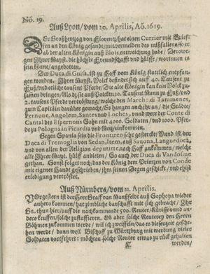 Zeitung auß Deutschlandt, Welschlandt, Franckreich, Böhmen, Hungarn, Niederlandt und andern Orten vom 20.05.1619