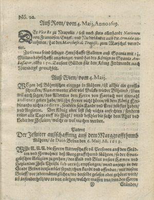 Zeitung auß Deutschlandt, Welschlandt, Franckreich, Böhmen, Hungarn, Niederlandt und andern Orten vom 27.05.1619