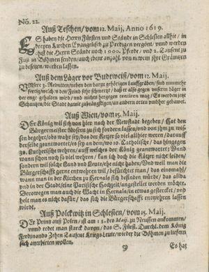 Zeitung auß Deutschlandt, Welschlandt, Franckreich, Böhmen, Hungarn, Niederlandt und andern Orten vom 10.06.1619
