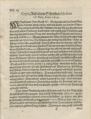 Zeitung auß Deutschlandt, Welschlandt, Franckreich, Böhmen, Hungarn, Niederlandt und andern Orten on Jun 17, 1619