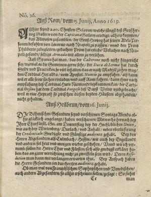 Zeitung auß Deutschlandt, Welschlandt, Franckreich, Böhmen, Hungarn, Niederlandt und andern Orten vom 08.07.1619