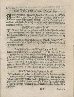 Zeitung auß Deutschlandt, Welschlandt, Franckreich, Böhmen, Hungarn, Niederlandt und andern Orten on Jul 15, 1619