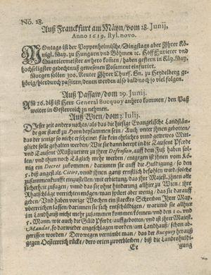 Zeitung auß Deutschlandt, Welschlandt, Franckreich, Böhmen, Hungarn, Niederlandt und andern Orten vom 22.07.1619