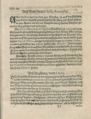 Zeitung auß Deutschlandt, Welschlandt, Franckreich, Böhmen, Hungarn, Niederlandt und andern Orten vom 29.07.1619