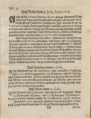 Zeitung auß Deutschlandt, Welschlandt, Franckreich, Böhmen, Hungarn, Niederlandt und andern Orten vom 12.08.1619
