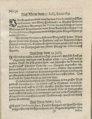 Zeitung auß Deutschlandt, Welschlandt, Franckreich, Böhmen, Hungarn, Niederlandt und andern Orten vom 19.08.1619