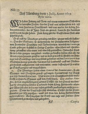 Zeitung auß Deutschlandt, Welschlandt, Franckreich, Böhmen, Hungarn, Niederlandt und andern Orten vom 26.08.1619