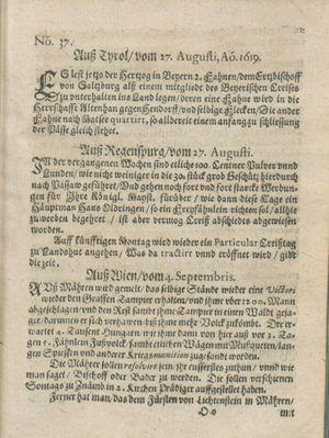 Zeitung auß Deutschlandt, Welschlandt, Franckreich, Böhmen, Hungarn, Niederlandt und andern Orten vom 23.09.1619