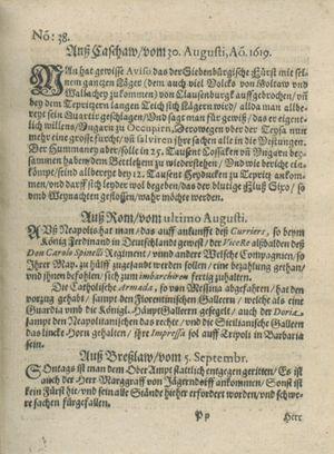 Zeitung auß Deutschlandt, Welschlandt, Franckreich, Böhmen, Hungarn, Niederlandt und andern Orten vom 30.09.1619