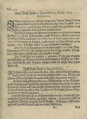 Zeitung auß Deutschlandt, Welschlandt, Franckreich, Böhmen, Hungarn, Niederlandt und andern Orten vom 14.10.1619