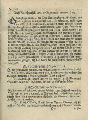 Zeitung auß Deutschlandt, Welschlandt, Franckreich, Böhmen, Hungarn, Niederlandt und andern Orten vom 21.10.1619
