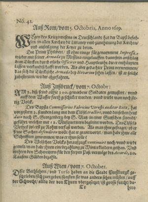 Zeitung auß Deutschlandt, Welschlandt, Franckreich, Böhmen, Hungarn, Niederlandt und andern Orten on Oct 28, 1619