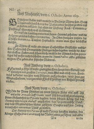 Zeitung auß Deutschlandt, Welschlandt, Franckreich, Böhmen, Hungarn, Niederlandt und andern Orten vom 04.11.1619