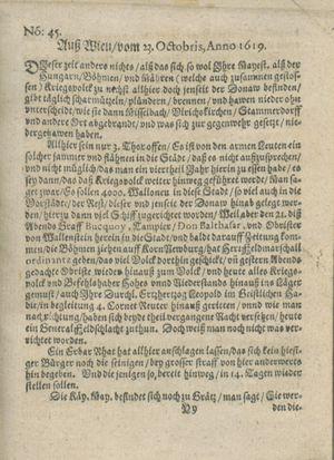 Zeitung auß Deutschlandt, Welschlandt, Franckreich, Böhmen, Hungarn, Niederlandt und andern Orten on Nov 18, 1619