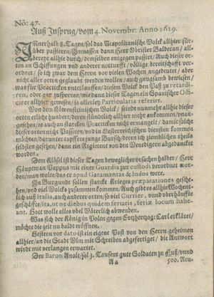 Zeitung auß Deutschlandt, Welschlandt, Franckreich, Böhmen, Hungarn, Niederlandt und andern Orten vom 02.12.1619