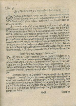 Zeitung auß Deutschlandt, Welschlandt, Franckreich, Böhmen, Hungarn, Niederlandt und andern Orten vom 09.12.1619