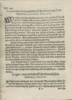Zeitung auß Deutschlandt, Welschlandt, Franckreich, Böhmen, Hungarn, Niederlandt und andern Orten vom 16.12.1619