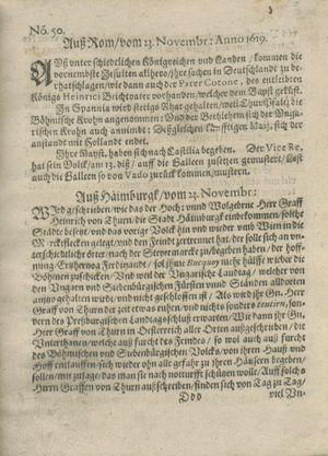 Zeitung auß Deutschlandt, Welschlandt, Franckreich, Böhmen, Hungarn, Niederlandt und andern Orten vom 23.12.1619