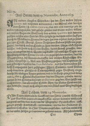Zeitung auß Deutschlandt, Welschlandt, Franckreich, Böhmen, Hungarn, Niederlandt und andern Orten vom 30.12.1619