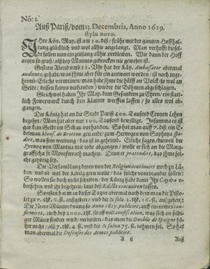 Zeitung auß Deutschlandt, Welschlandt, Franckreich, Böhmen, Hungarn, Niederlandt und andern Orten vom 13.01.1620
