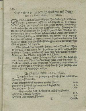 Zeitung auß Deutschlandt, Welschlandt, Franckreich, Böhmen, Hungarn, Niederlandt und andern Orten vom 27.01.1620