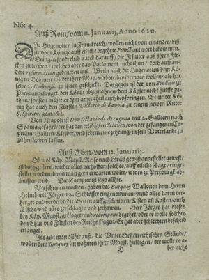 Zeitung auß Deutschlandt, Welschlandt, Franckreich, Böhmen, Hungarn, Niederlandt und andern Orten vom 03.02.1620