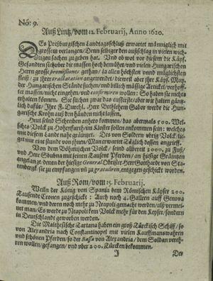 Zeitung auß Deutschlandt, Welschlandt, Franckreich, Böhmen, Hungarn, Niederlandt und andern Orten on Mar 9, 1620