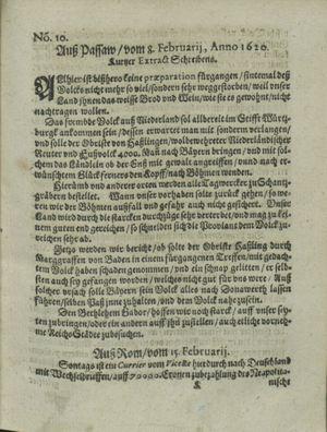 Zeitung auß Deutschlandt, Welschlandt, Franckreich, Böhmen, Hungarn, Niederlandt und andern Orten vom 16.03.1620