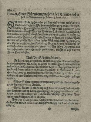 Zeitung auß Deutschlandt, Welschlandt, Franckreich, Böhmen, Hungarn, Niederlandt und andern Orten vom 30.03.1620