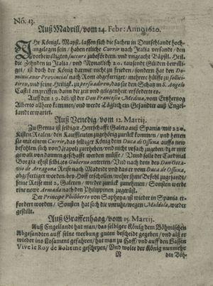 Zeitung auß Deutschlandt, Welschlandt, Franckreich, Böhmen, Hungarn, Niederlandt und andern Orten vom 06.04.1620
