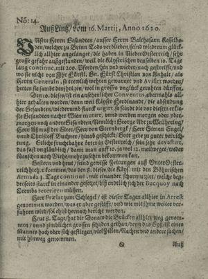 Zeitung auß Deutschlandt, Welschlandt, Franckreich, Böhmen, Hungarn, Niederlandt und andern Orten vom 13.04.1620