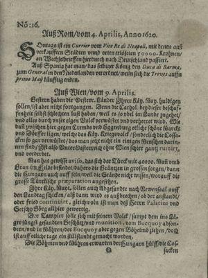 Zeitung auß Deutschlandt, Welschlandt, Franckreich, Böhmen, Hungarn, Niederlandt und andern Orten vom 27.04.1620