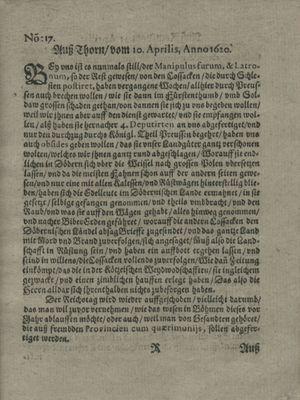 Zeitung auß Deutschlandt, Welschlandt, Franckreich, Böhmen, Hungarn, Niederlandt und andern Orten vom 04.05.1620