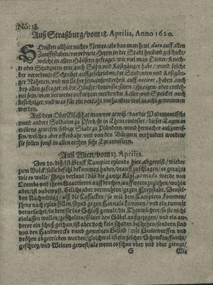Zeitung auß Deutschlandt, Welschlandt, Franckreich, Böhmen, Hungarn, Niederlandt und andern Orten vom 11.05.1620