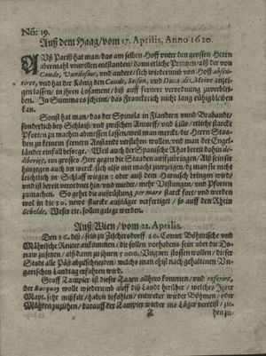 Zeitung auß Deutschlandt, Welschlandt, Franckreich, Böhmen, Hungarn, Niederlandt und andern Orten vom 18.05.1620