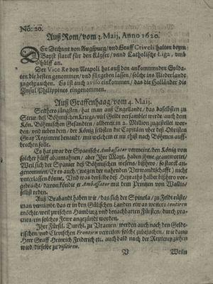 Zeitung auß Deutschlandt, Welschlandt, Franckreich, Böhmen, Hungarn, Niederlandt und andern Orten vom 25.05.1620