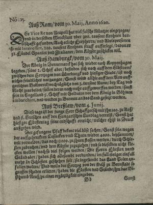 Zeitung auß Deutschlandt, Welschlandt, Franckreich, Böhmen, Hungarn, Niederlandt und andern Orten vom 29.06.1620