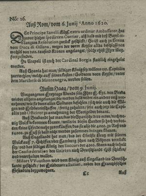 Zeitung auß Deutschlandt, Welschlandt, Franckreich, Böhmen, Hungarn, Niederlandt und andern Orten vom 06.07.1620