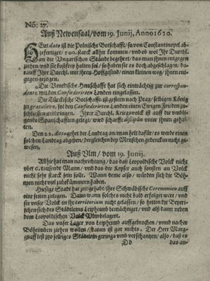 Zeitung auß Deutschlandt, Welschlandt, Franckreich, Böhmen, Hungarn, Niederlandt und andern Orten vom 13.07.1620