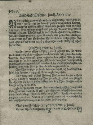 Zeitung auß Deutschlandt, Welschlandt, Franckreich, Böhmen, Hungarn, Niederlandt und andern Orten vom 20.07.1620