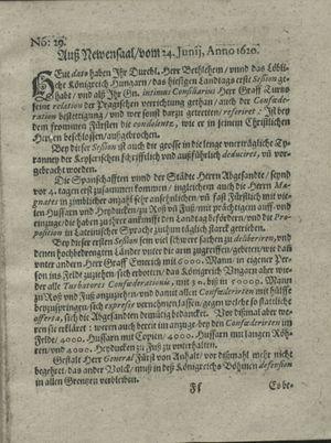 Zeitung auß Deutschlandt, Welschlandt, Franckreich, Böhmen, Hungarn, Niederlandt und andern Orten vom 27.07.1620