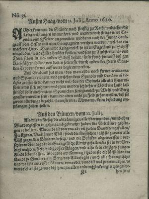 Zeitung auß Deutschlandt, Welschlandt, Franckreich, Böhmen, Hungarn, Niederlandt und andern Orten vom 17.08.1620