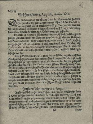Zeitung auß Deutschlandt, Welschlandt, Franckreich, Böhmen, Hungarn, Niederlandt und andern Orten vom 24.08.1620