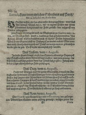 Zeitung auß Deutschlandt, Welschlandt, Franckreich, Böhmen, Hungarn, Niederlandt und andern Orten vom 31.08.1620
