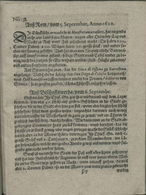 Zeitung auß Deutschlandt, Welschlandt, Franckreich, Böhmen, Hungarn, Niederlandt und andern Orten vom 28.09.1620