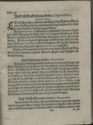 Zeitung auß Deutschlandt, Welschlandt, Franckreich, Böhmen, Hungarn, Niederlandt und andern Orten vom 05.10.1620