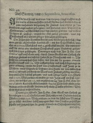 Zeitung auß Deutschlandt, Welschlandt, Franckreich, Böhmen, Hungarn, Niederlandt und andern Orten vom 12.10.1620