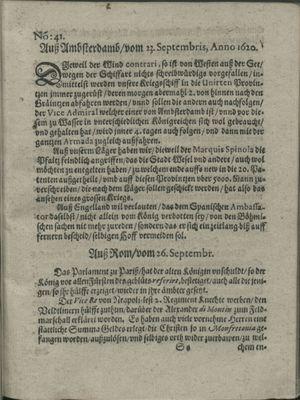Zeitung auß Deutschlandt, Welschlandt, Franckreich, Böhmen, Hungarn, Niederlandt und andern Orten vom 19.10.1620